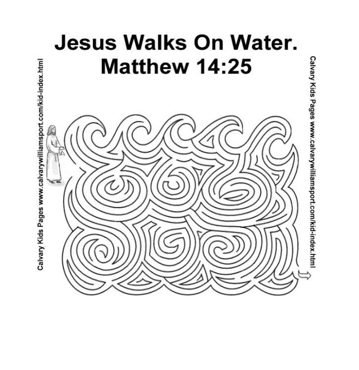 Jezus loopt op het water doolhof  Jesus walks on the water maze