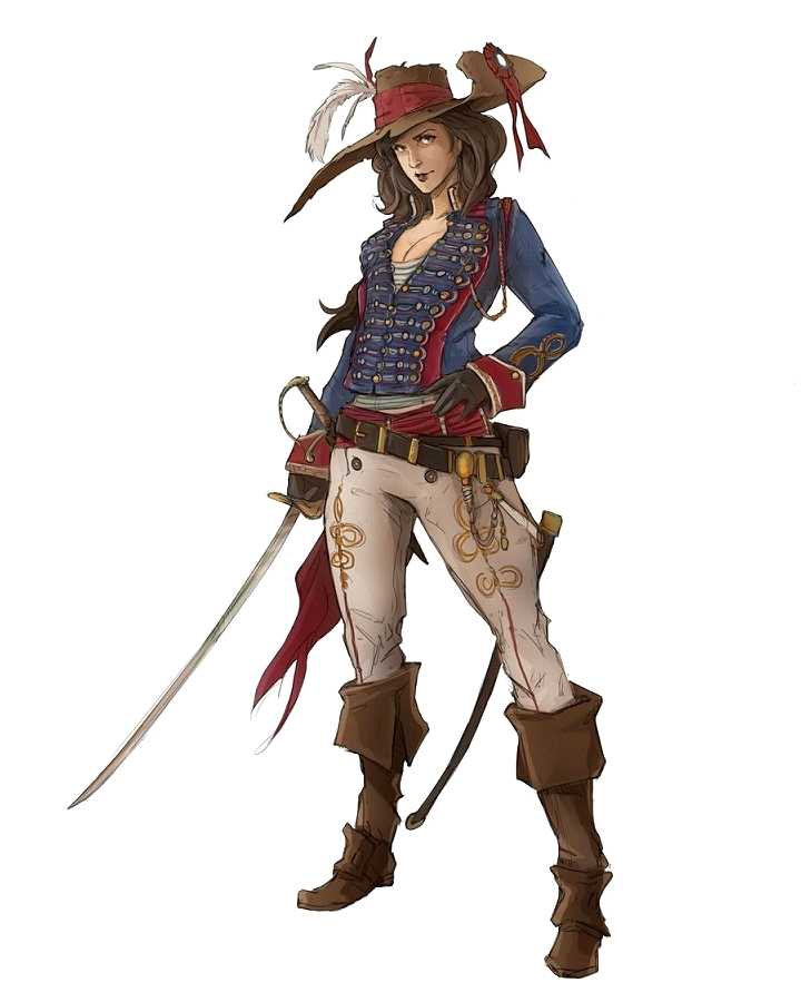 69f4b735dca Female Human Pirate Rogue Big Hat - Pathfinder PFRPG DND D D 3.5 5E 5th ed  d20 fantasy