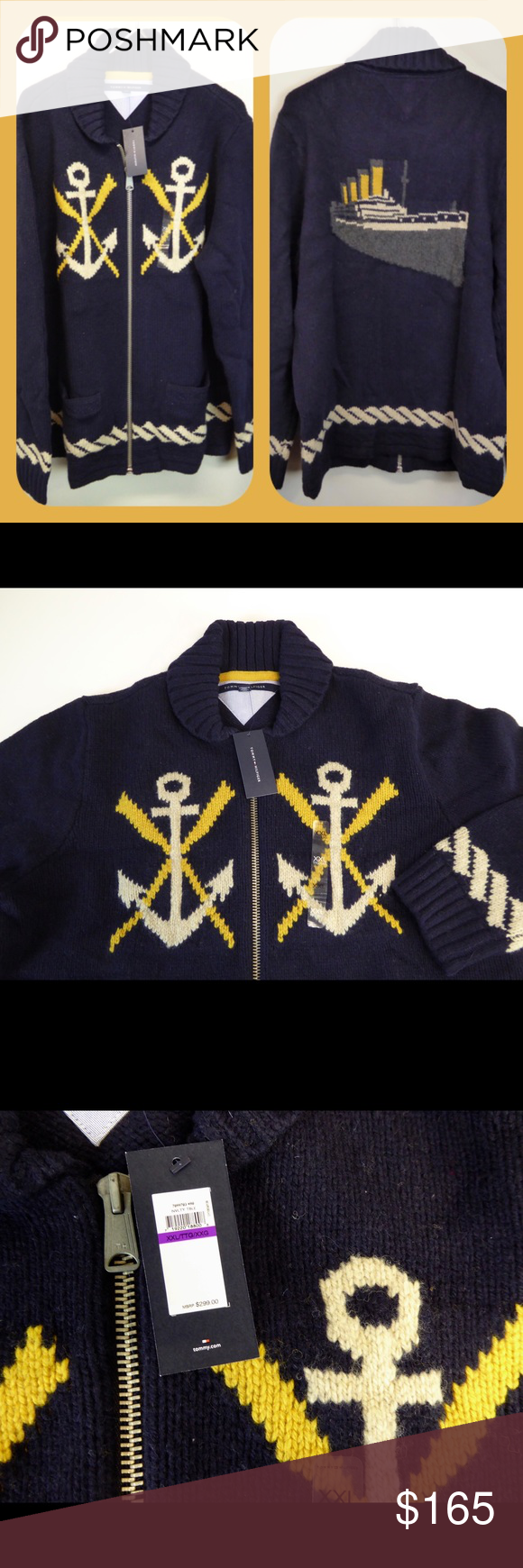 "Tommy Hilfiger Naval Steamer Sweater Anchors 🛳⚓️ Beautiful, long sleeve knit cardigan sweater / light jacket.  Mock/shawl style collar, full zip front & 2 front pockets. 🛳Naval theme with ⚓️anchors & rope design on front & a beautiful steamer ship on back.  Zipper pull has ""TH"" branding with a small Tommy flag embroidered on a sleeve cuff.  ""Cowichan"" style sweater has incredible detail, quality & heft.  Perfect for boating season.  Wear as a sweater or light jacket! Hand wash. 79%…"