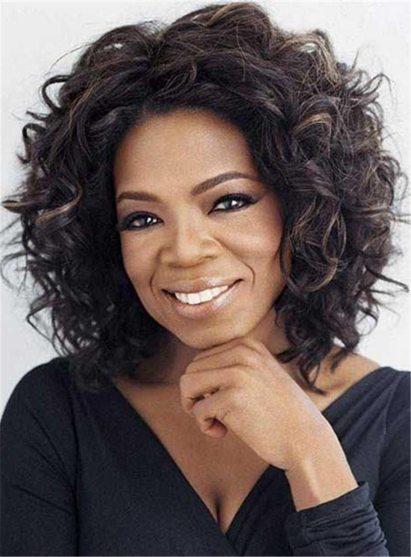 oprah winfrey elegant bob center part synthetic hair messy curly