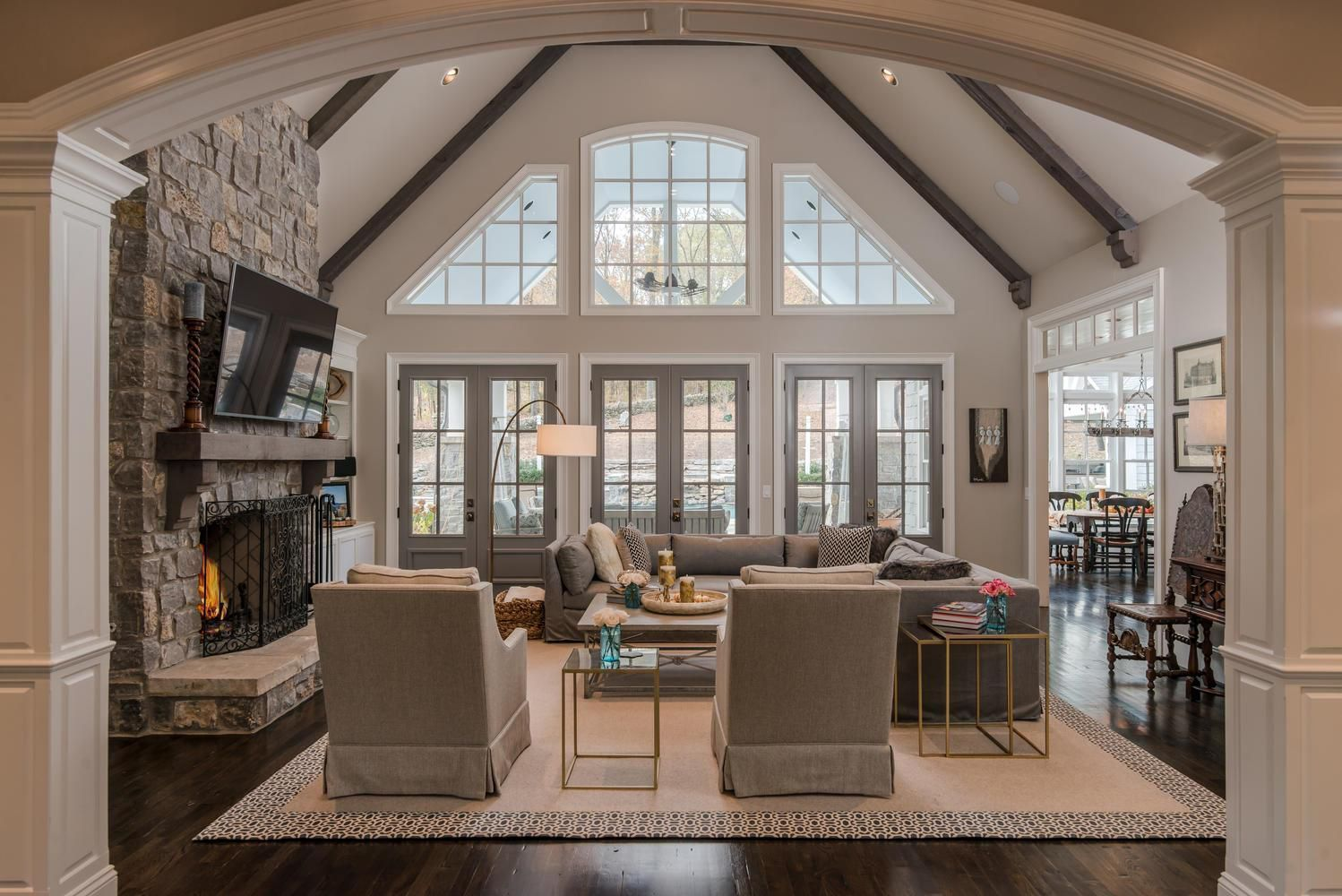 Great Room Vaulted Ceiling With Beams And Win