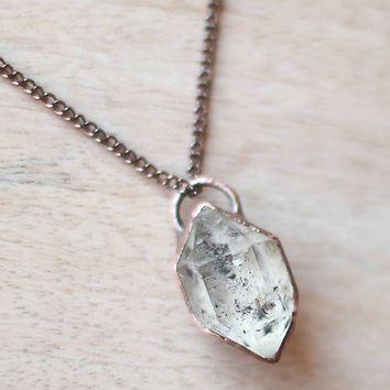 Herkimer diamond necklace crystal necklace quartz necklace raw stone herkimer diamond necklace crystal necklace quartz necklace raw stone necklace herkimer pendant raw diamond necklace copper aloadofball Gallery