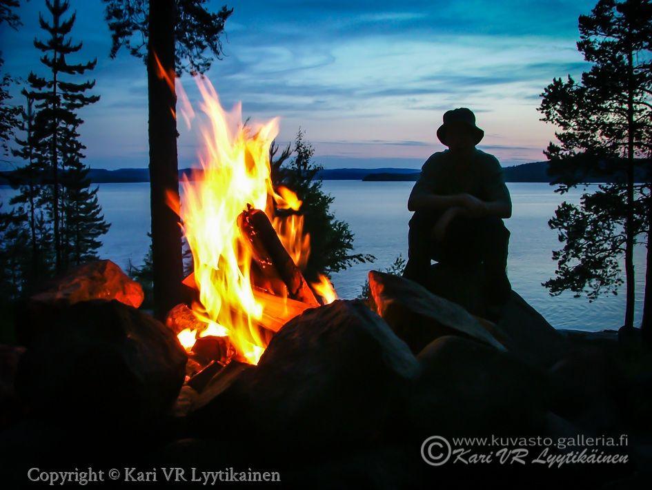 Luonto, Retkeily, Päijänne, Äijänniemi, Tuli, Nuotio, Kokko, Yö