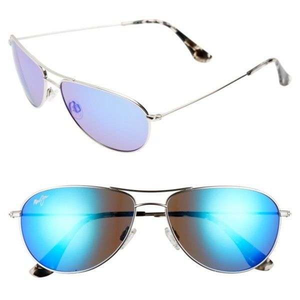 78c531ec8245 Women's Maui Jim Sea House 60Mm Polarized Titanium Aviator Sunglasses (375  CAD) ❤ liked