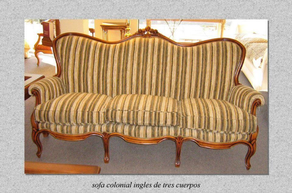 Sofa colonial ingles de tres cuerpos tallado colonial sofas pinterest estilo ingl s sof - Sofas estilo colonial ...