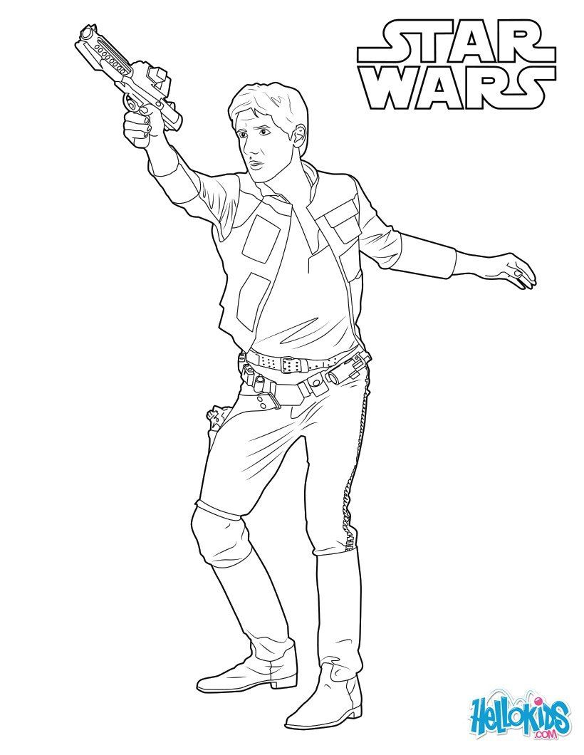 Han Solo, captain of the Millennium Falcon coloring page. More The force  Awakens Star Wars new movie content on… | Star wars drawings, Coloring pages,  Star wars art