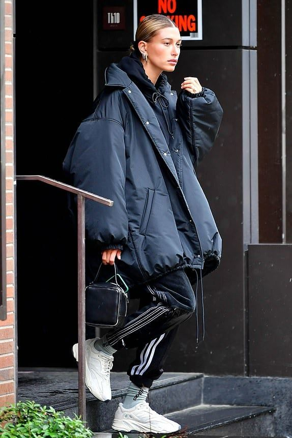 Hailey Bieber is dressed in a Balenciaga Padded Cocoon Coat
