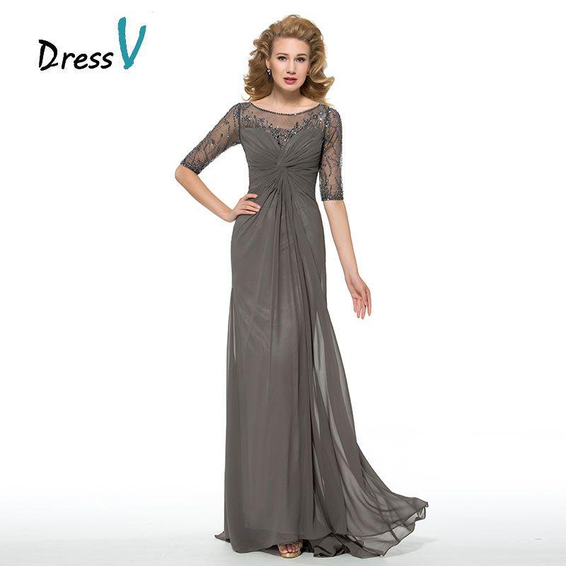 Dressv Halbarm Grau Mutter Der Braut Kleider Customized Perlen Geraffte Verbund Seide Chiffon Mutter Lange Abendkleid