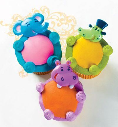 Elephant, Hippo & Alligator Cupcakes