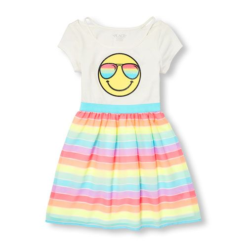 5c99b105686 Girls Short Sleeve Cut-Out Shoulder Emoji Knit-To Woven Stripe Dress ...