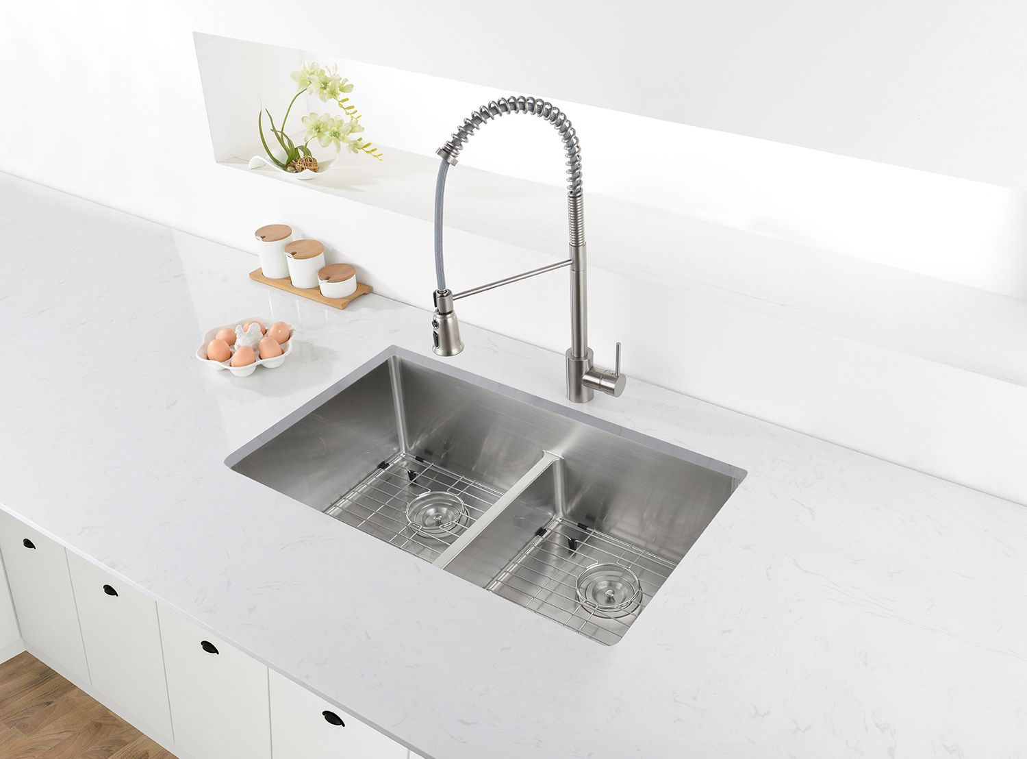 Ruvati Rvh7255 Double Bowl Sinks Ruvati 28 Inch Low Divide Undermount Tight Radius 60 40 Double Bowl 16 Gauge Stainless Steel Kitchen Sink Rvh7255 Undermount Kitchen Sinks Stainless Steel Kitchen Sink