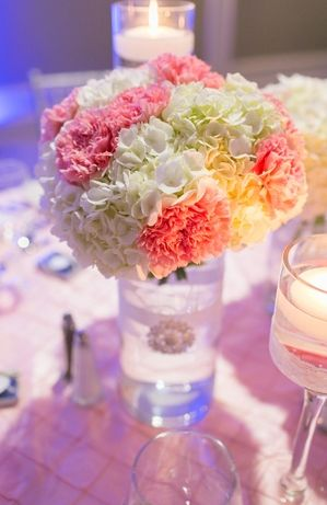 Diy Carnations Centerpieces In Dressed Up Vase Carnation Centerpieces Wedding Centerpieces Diy Carnation Wedding Centerpieces