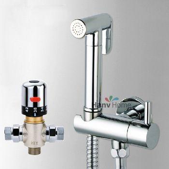 Thermostatic Mixing Valve &Brass Shattaf Bidet Sprayer Shower Set Spray Douche kit & Brass Valve Temperature Thermostatic mixer