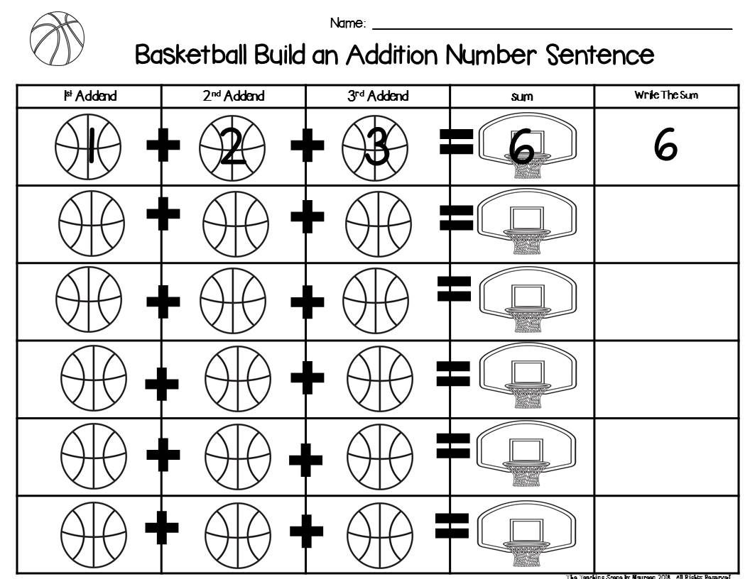 Basketball Build A 3 Addend Addition Or Subtraction Number