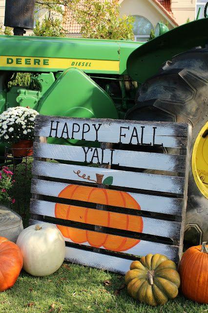 Ramblings of a Southern Girl: Wanna Take a Ride on My Big Green Tractor - Fall Scene