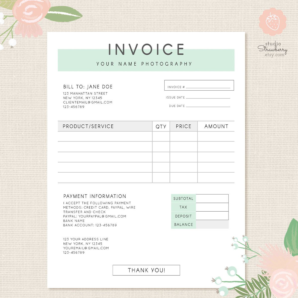 invoice template photography invoice business invoice receipt template for photographers photography forms photoshop template psd file - Business Invoice