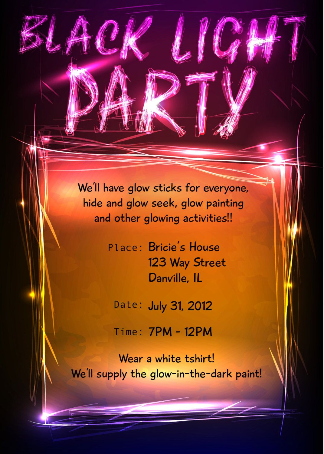 Black Light Party Invitation Joanna Szewczyk Gierak Szewczyk