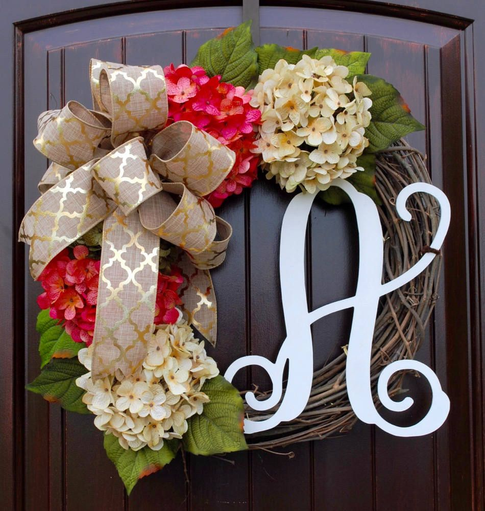 Pink And Cream French Hydrangea Monogram Door Wreath Summer Wreath Hand Painted Letter High Quality Front Door Decor Mother S Day Gifts Monogram Door Wreath Summer Door Wreaths Door Decorations