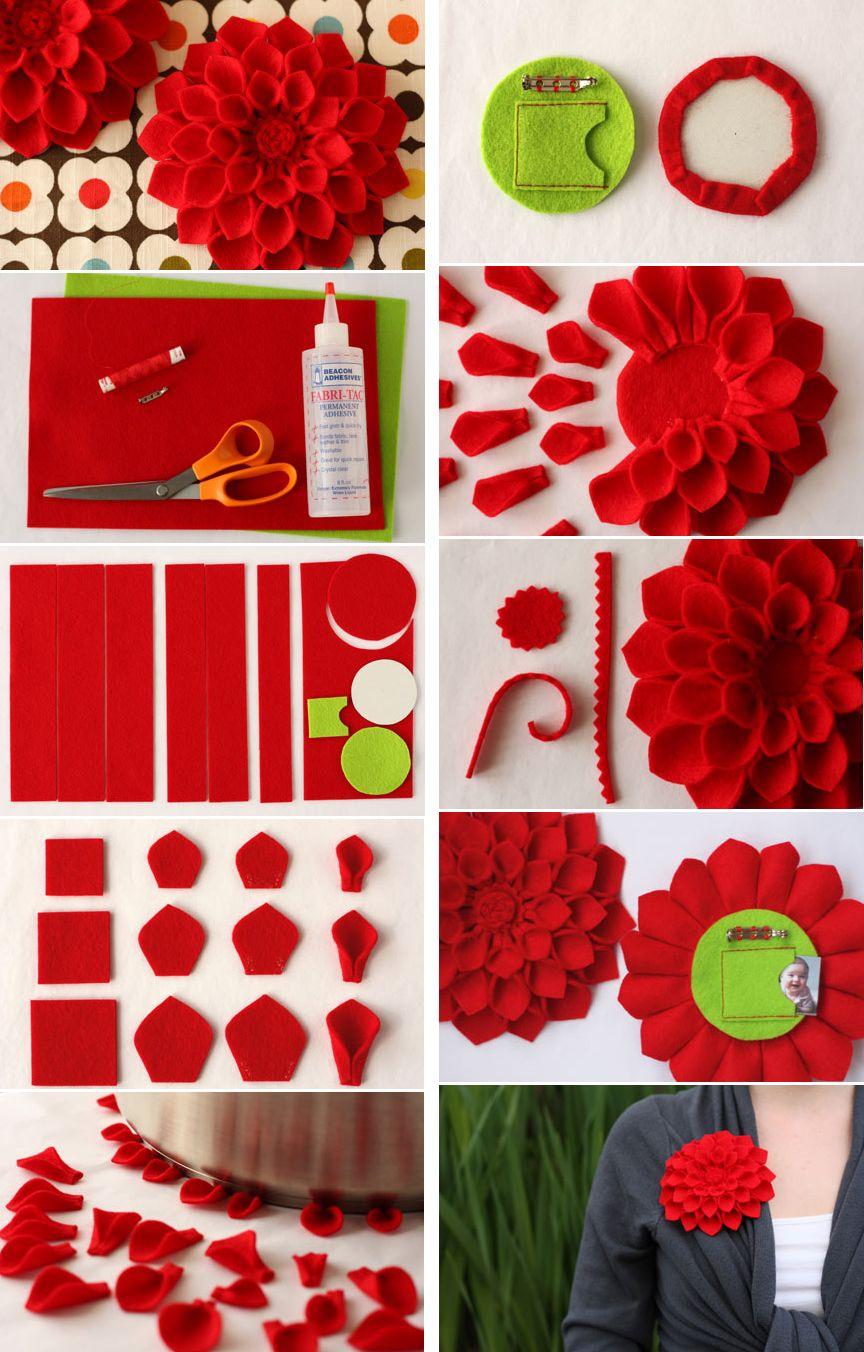 Felt Dahlia Flower Brooch Being Creative Misc Ideas And Tutorials