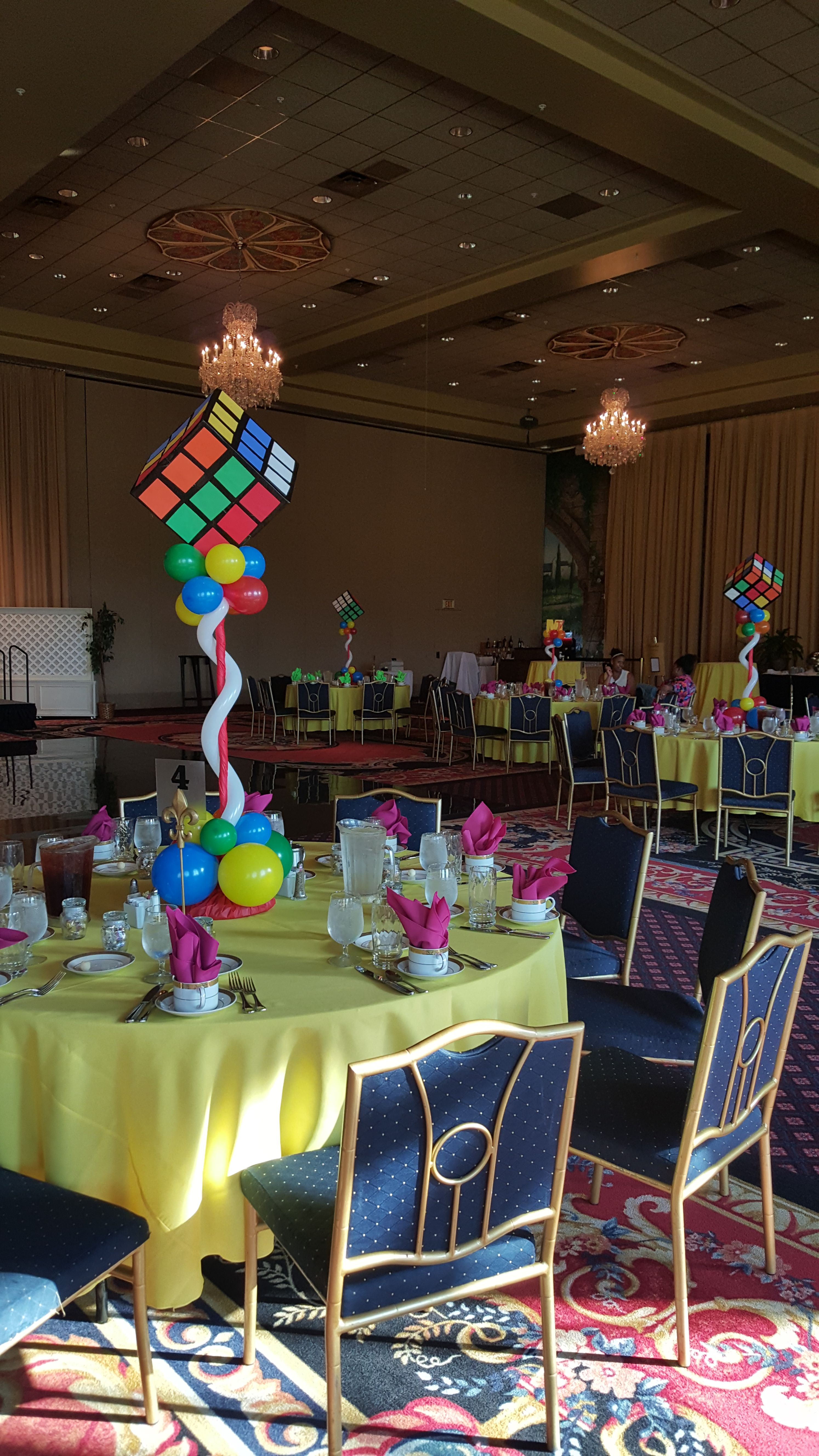 80's Theme Balloon Centerpieces with Jumbo Rubik's Cube by