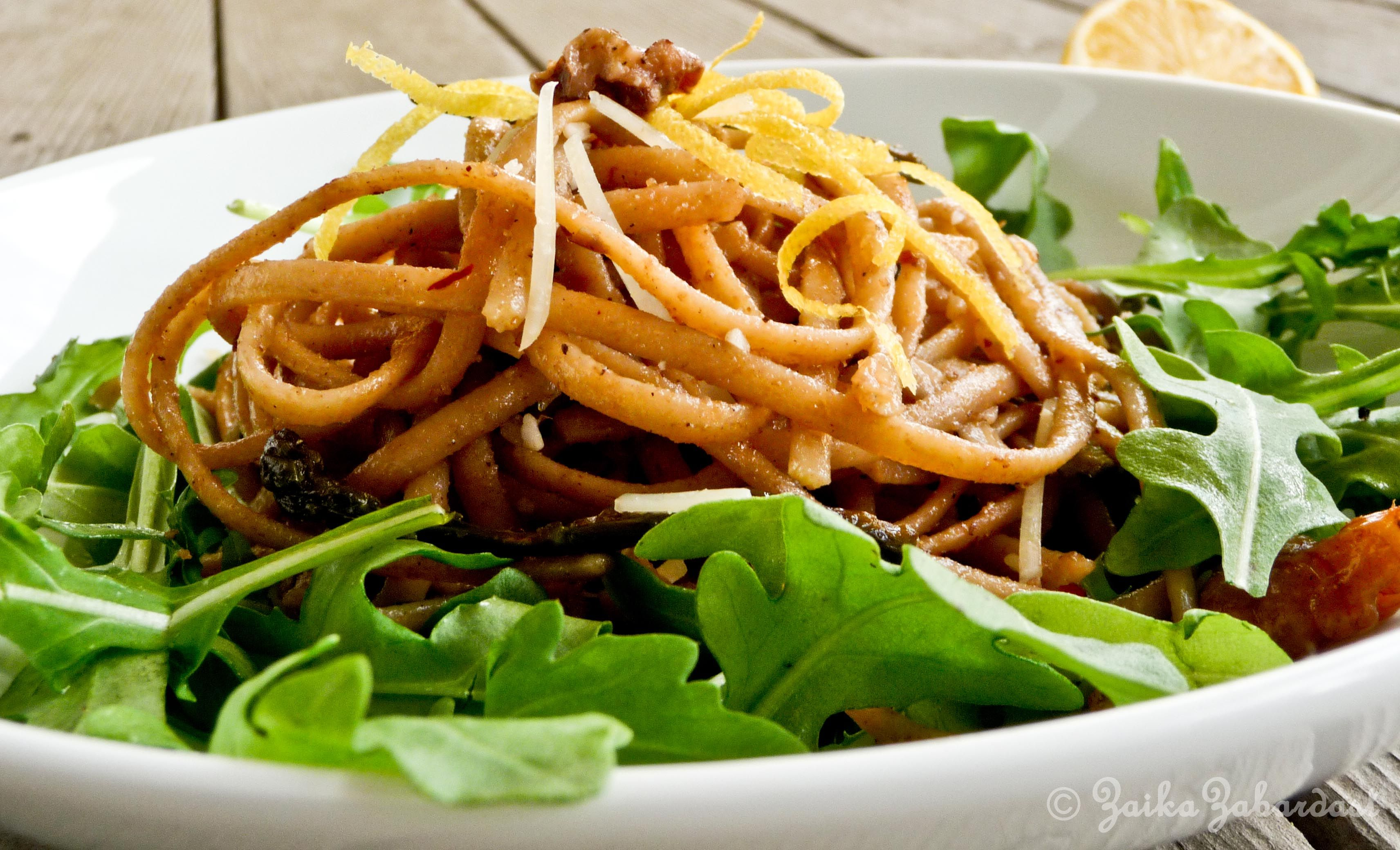 Spring pasta with lemony, garlicky, buttery walnut sauce(YUMM) - The best pasta EVER!  Use rice noodles for glutten free!!