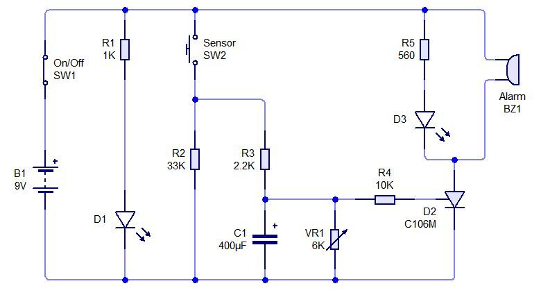 Sensor Alarm Using Thyristor Basic Electronic Project