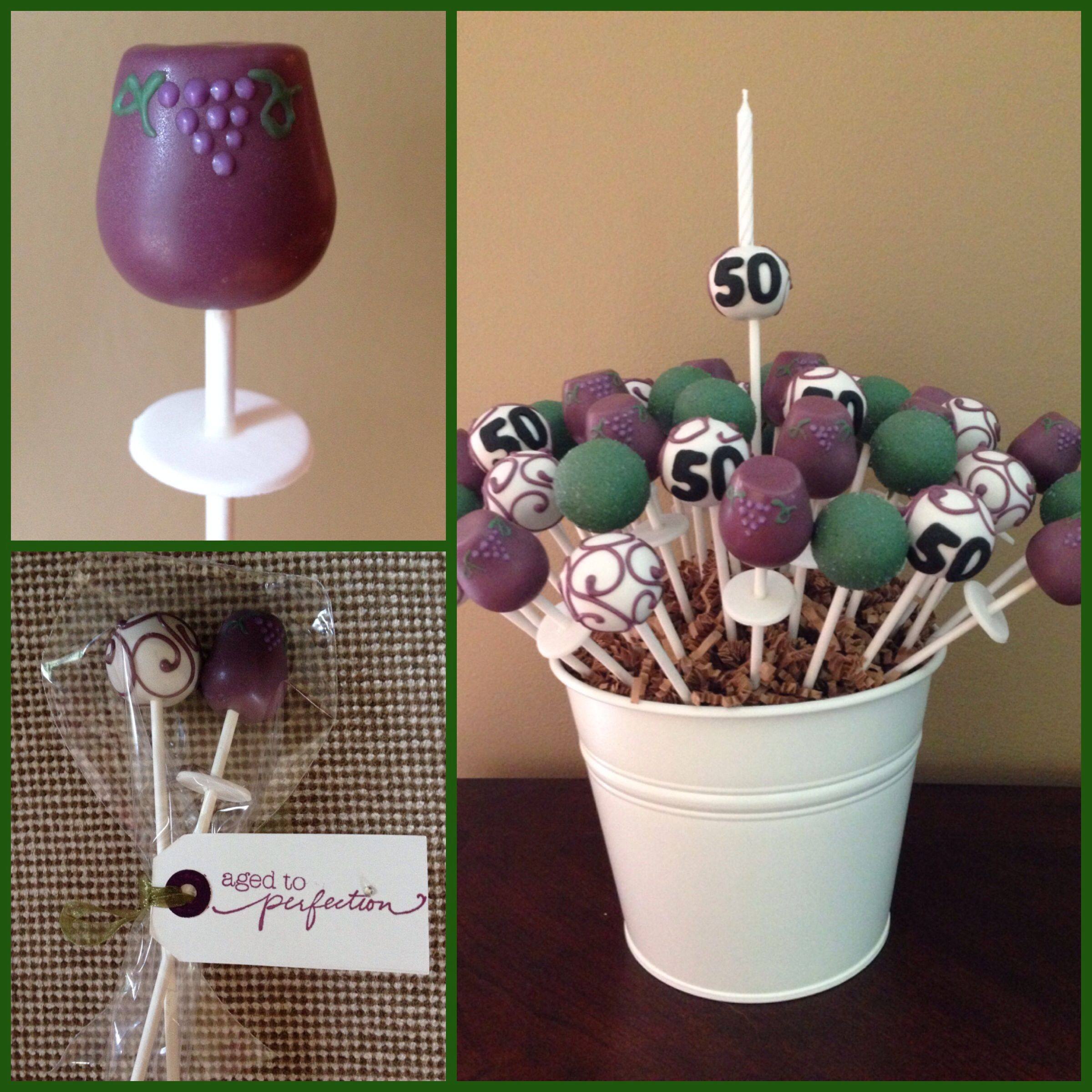 Wine Glass Aged To Perfection Cake Pops Cake Pop Decorating