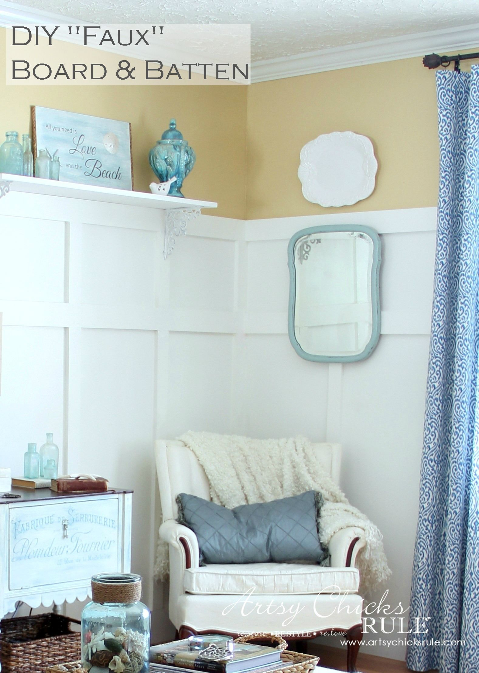Create Board and Batten the easy way...FAUX! Just batten but with the look of both.