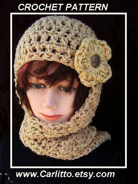 CROCHET hat PATTERN- Hat & scarf, hat crochet pattern, Hood, hoodie ...