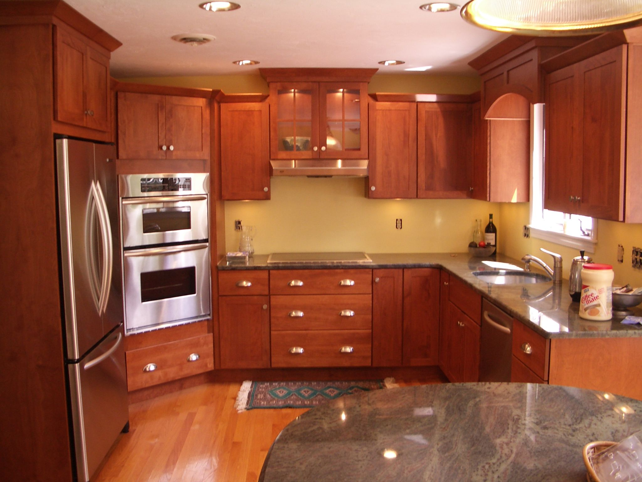 Red Birch Kitchen Cabinets Stainless Steel Double Oven