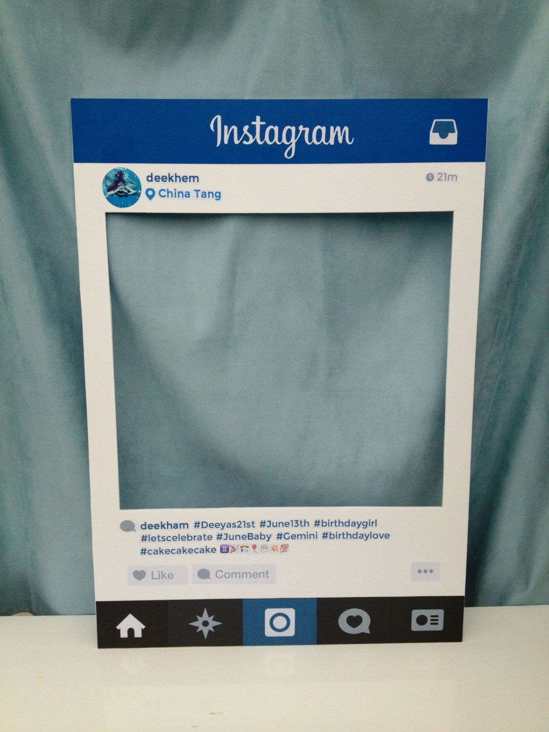 Large Instagram Frame Prop Large Personalised Instagram Photo Booth Prop By