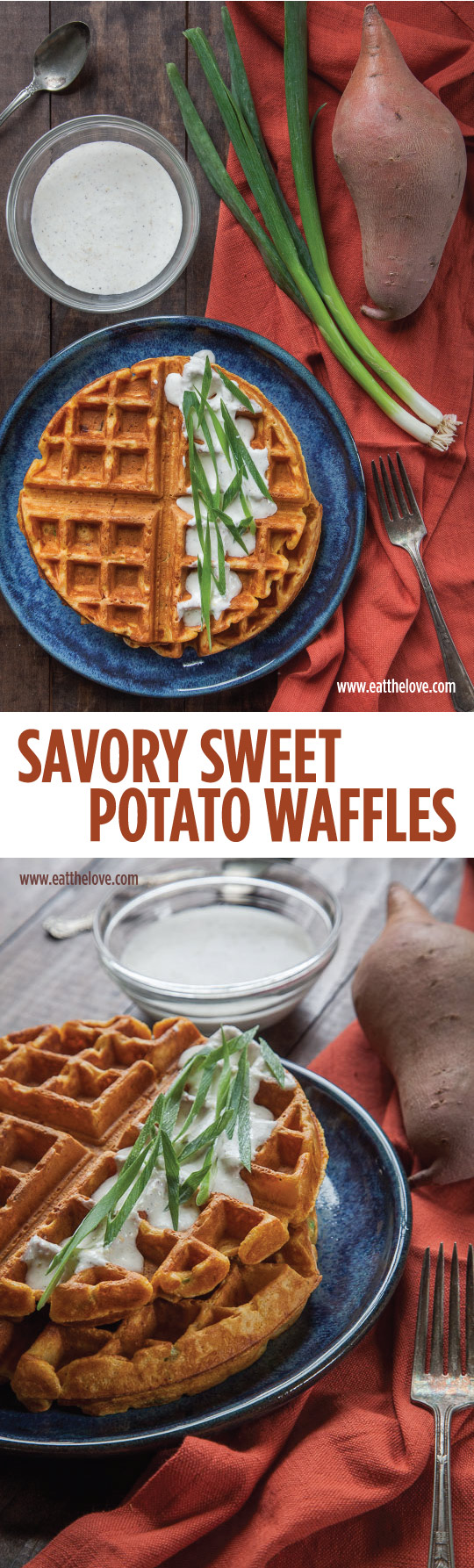 #ad  These Savory Sweet Potato Waffles with Garlic Crème Fraîche make an incredible breakfast or brunch item for Easter or anytime of the year!