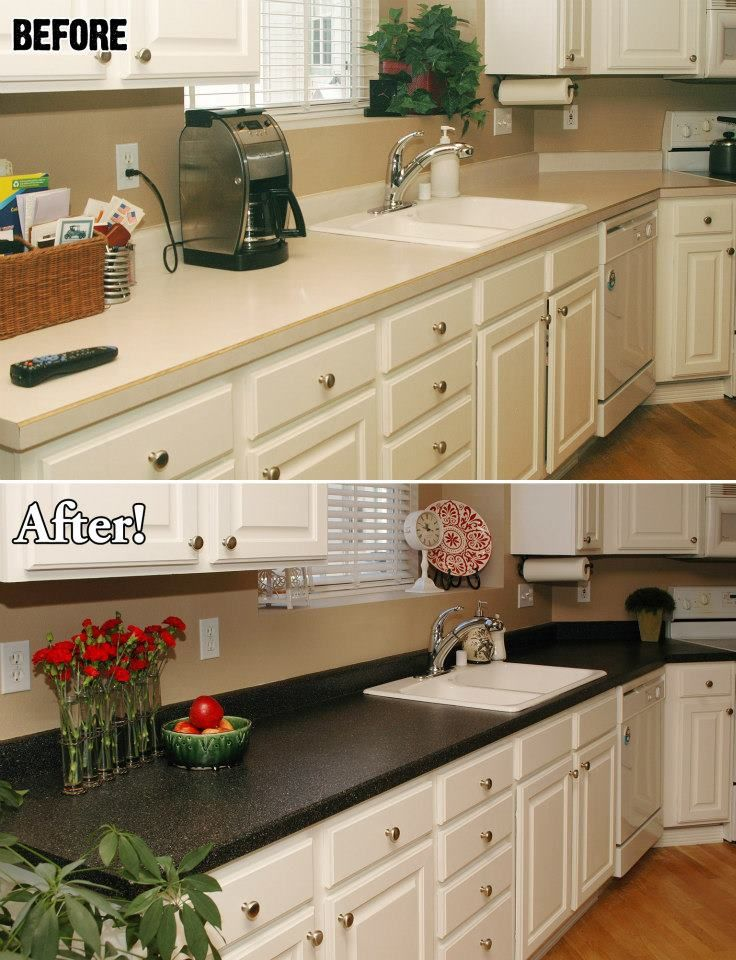 A look at a countertop before and after Miracle Method refinished it ...