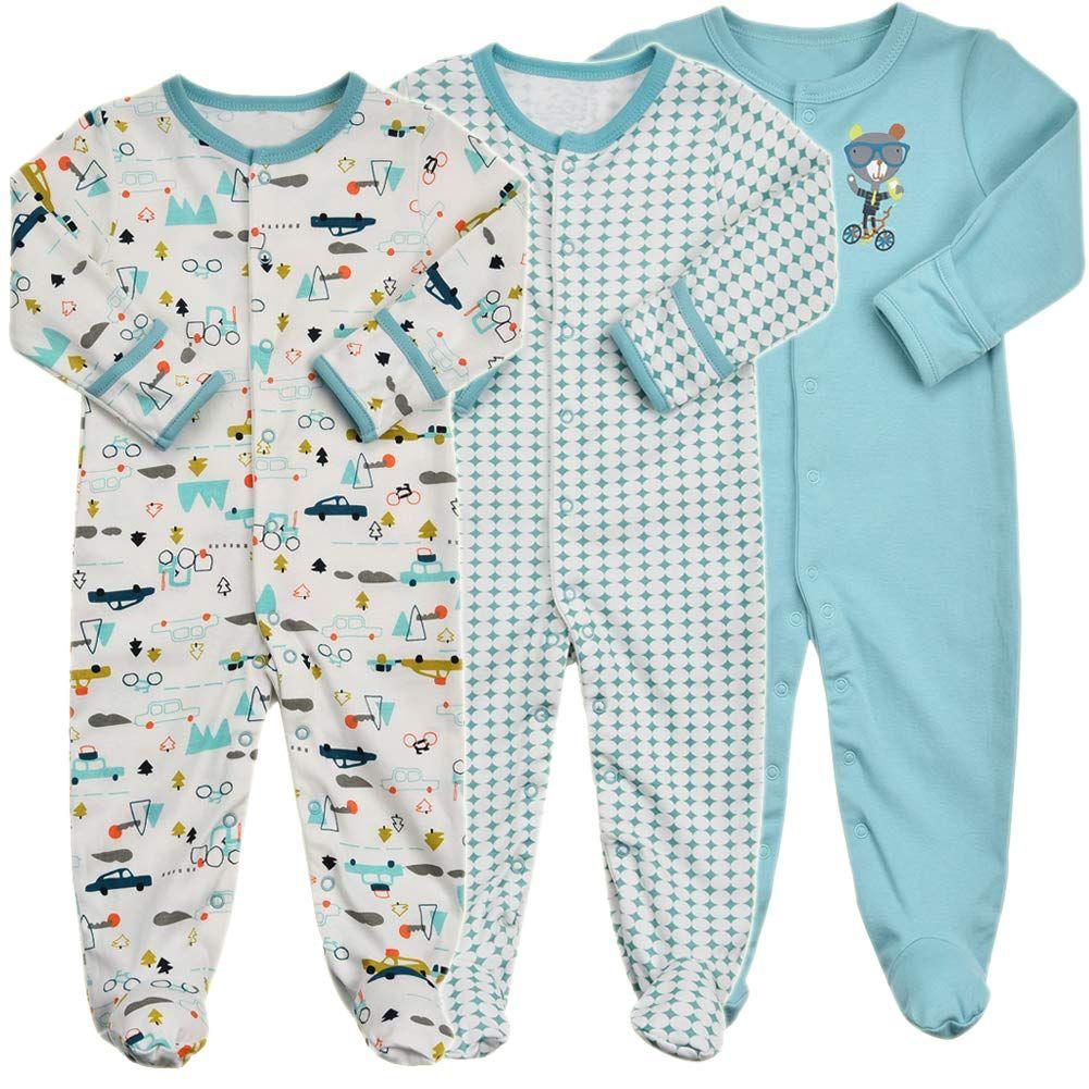 Unisex Newborn Infant 2 Ways Zipper Cotton Footie Onesies Baby Footed Pajamas with Mitten Cuffs