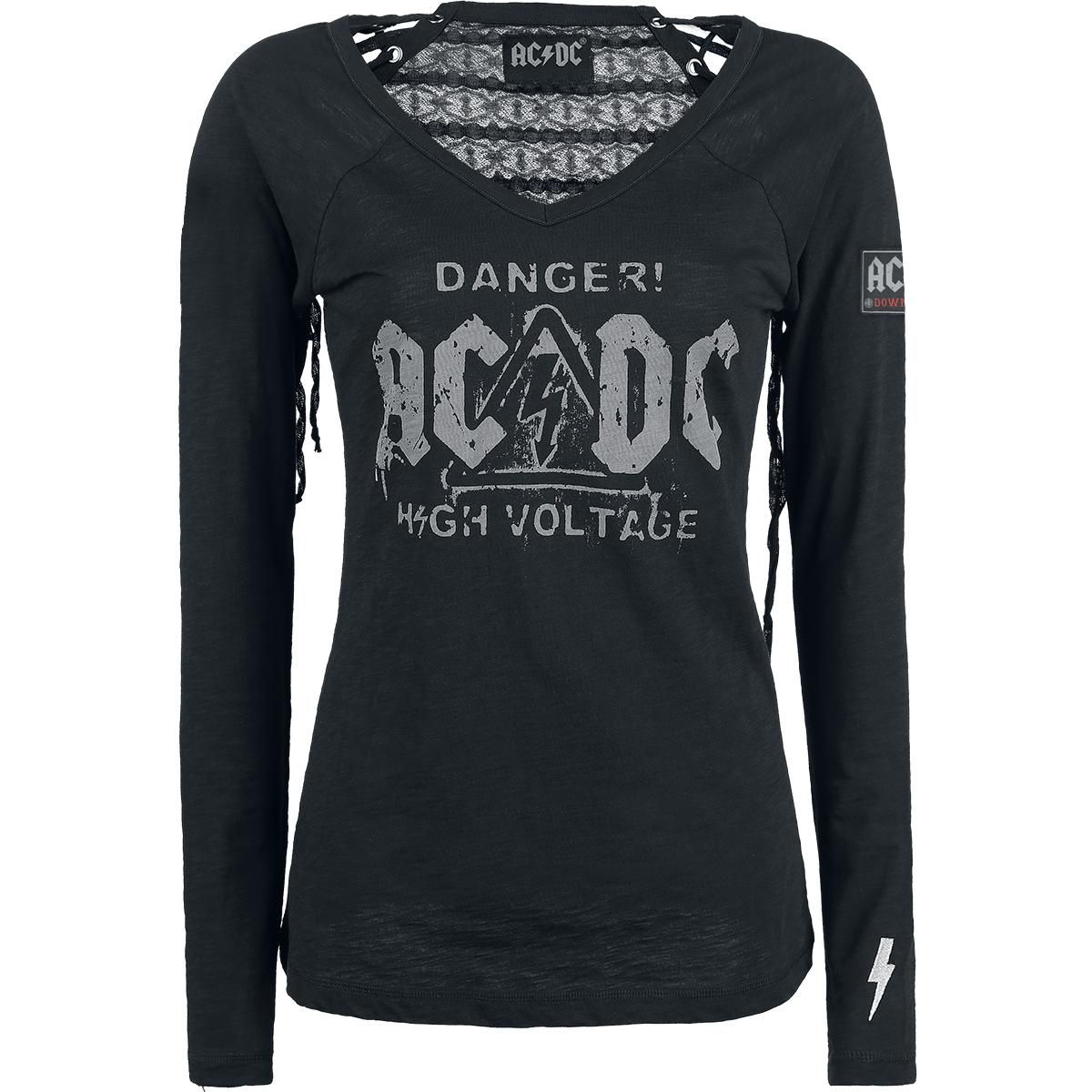 Back in black t shirt - Ac Dc Long Sleeved Shirt Women High Voltage Black Emp