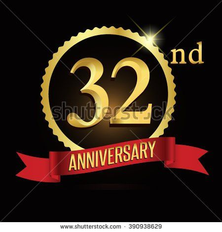 32nd Golden Anniversary Logo With Red Ribbon 32 Years Signs Ilration Stock Vector