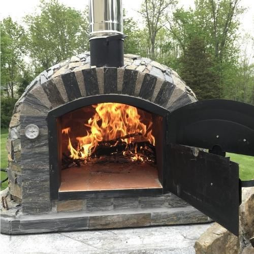 Authentic Pizza Ovens Lisboa APOLISSTN Built-In or Countertop Wood Fired Pizza Oven with Stone Finish #brickpizzaovenoutdoor