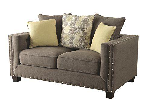 Coaster 501422 Kelvington Tuxedo Loveseat Charcoal Fabric Upholstery