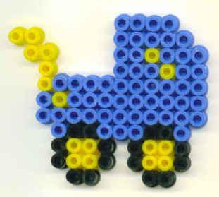 blue pram baby hama perler beads
