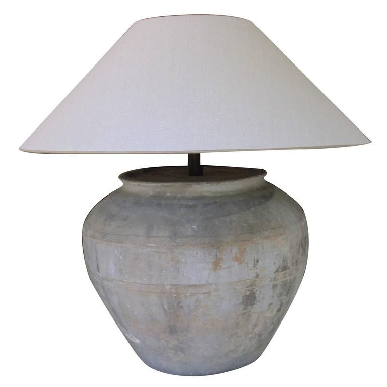 High Quality Chinese Han Dynasty Large Unglazed Belly Vase As Table Lamp | From A Unique  Collection Of Nice Ideas