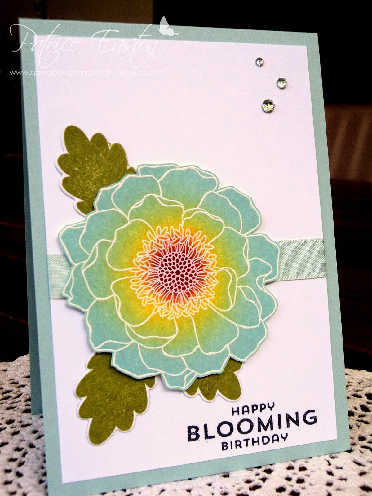 SU Blended Bloom | SU Flower Patch | Birthday | Sponged Soft Sky | Spring Blossom Musings #stampinup #blendedbloom #softsky #birthday #sponging #springblossommusings