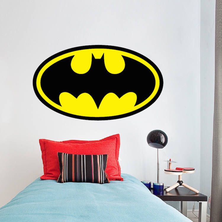 Batman Logo Wall Decal Movie Justice League Wall Designs Removable - Superhero wall decals for kids roomssuperhero wall decal etsy