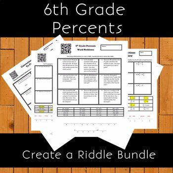 6th Grade Percents Create a Riddle Bundle - 7 Riddles Percents