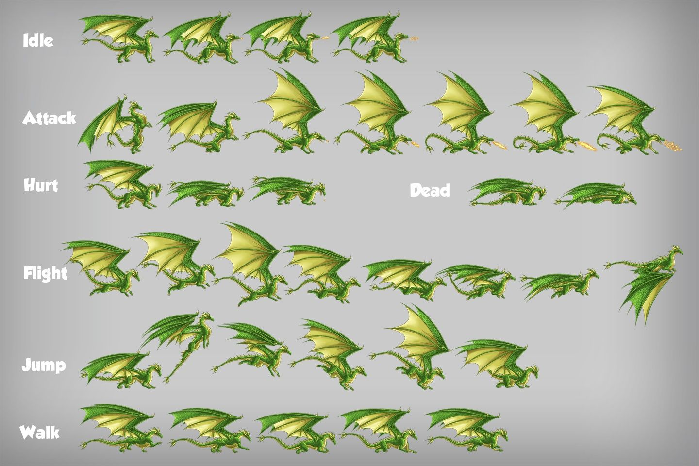 2D Game Dragon Character Sprites | ANIMATION | Dragon, Game