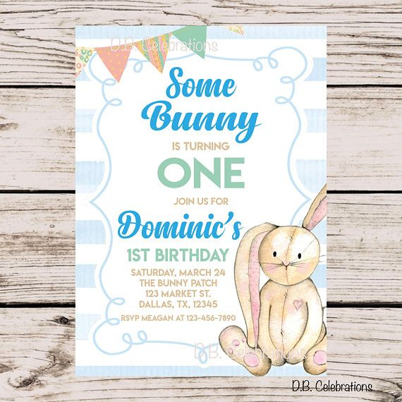 Bunny Invitation First Birthday Easter Invite Digital Blue Printable Ask A Question