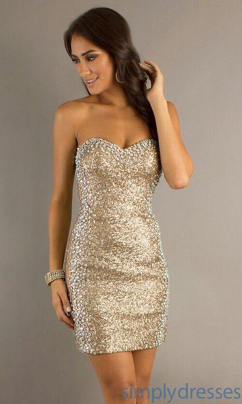Short Gold Dress Glitter Dress Short Sequin Dress Strapless Sequin Dress