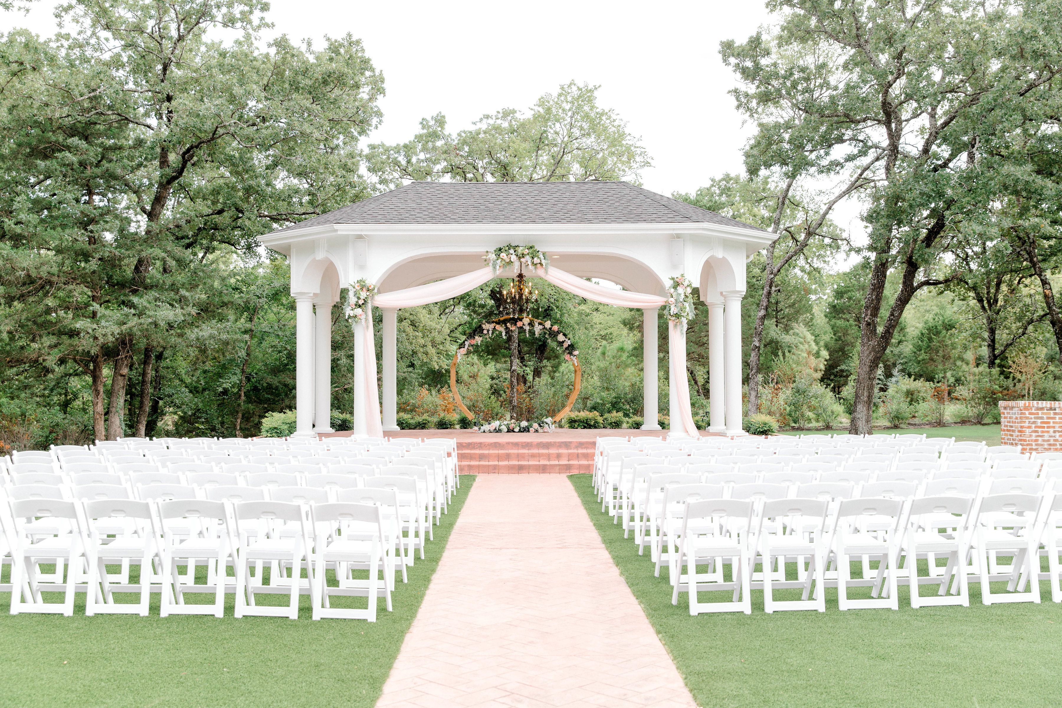 The Gazebo With Blush Draping And Flowers And Our Circle Arch Www Wildroseevents Com Gazebo Wild Roses Wedding Florist