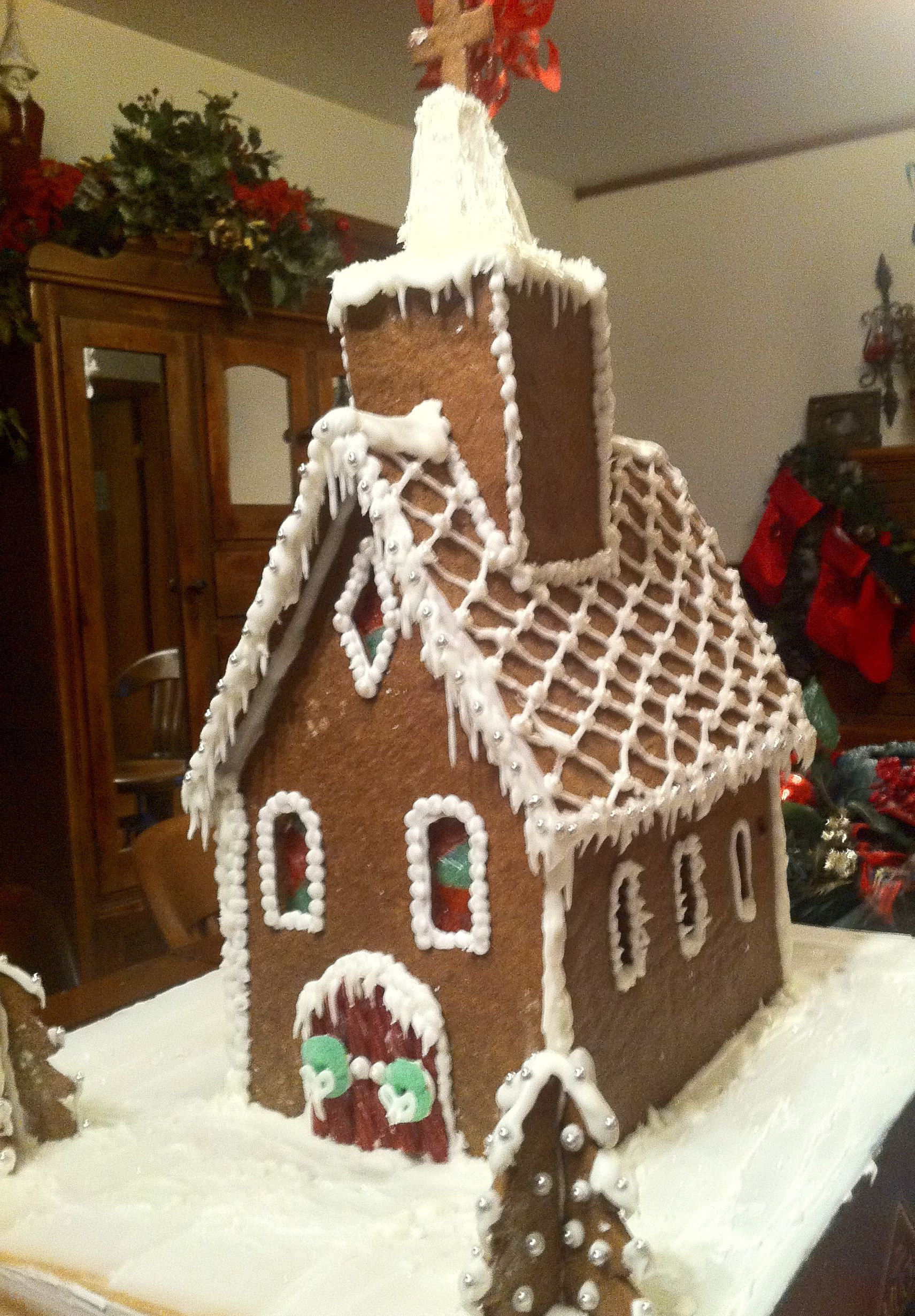 Gingerbread Church with stained glass windows.