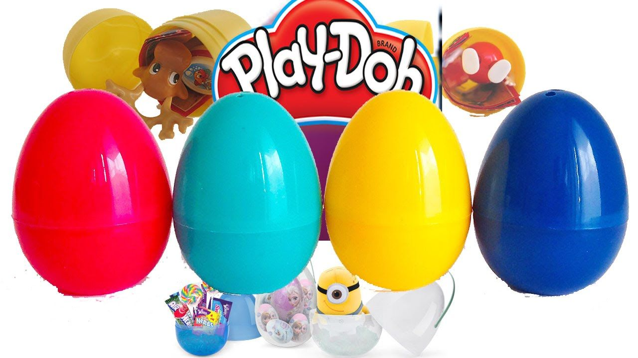 5 Play Doh Eggs Surprise   Play Dough Surprise Eggs   Toy characters Pla...
