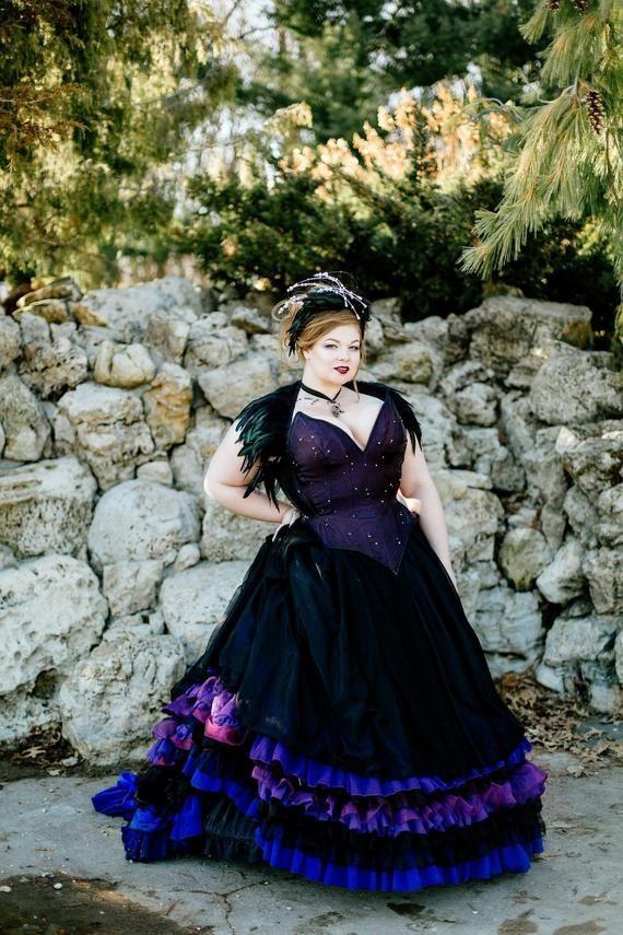 97f7b367cc403 Gothic Purple Wedding Dress Goth Fairy Costume Masquerade Ballgown ...